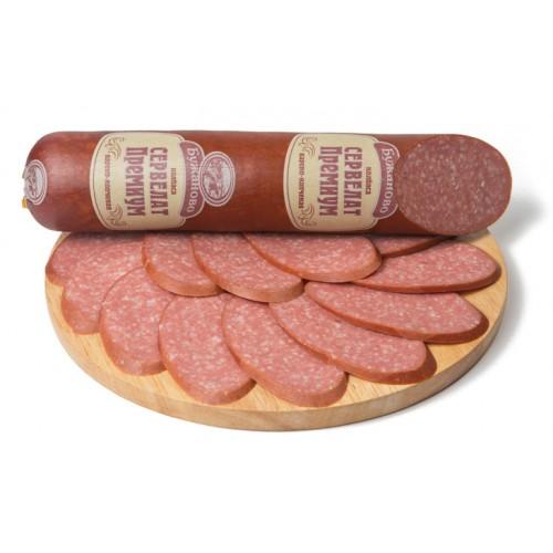 Варено-копченая колбаса сервелат «Премиум»