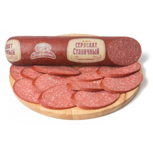 Варено-копченая колбаса сервелат «Станичный»