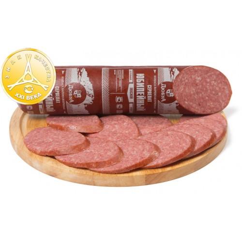 Варено-копченая колбаса сервелат «Юбилейный»