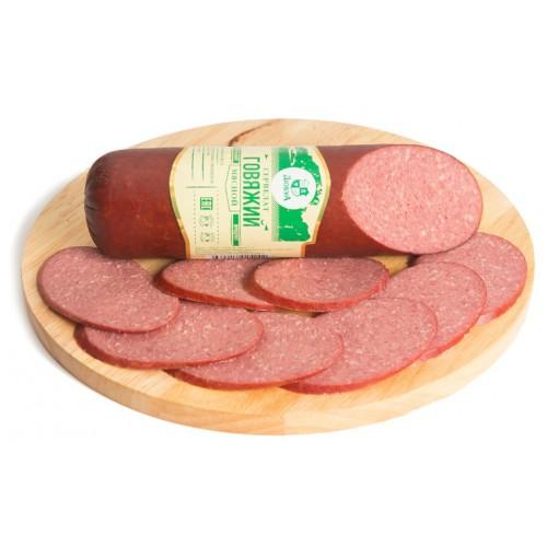 Варено-копченая колбаса сервелат «Говяжий»
